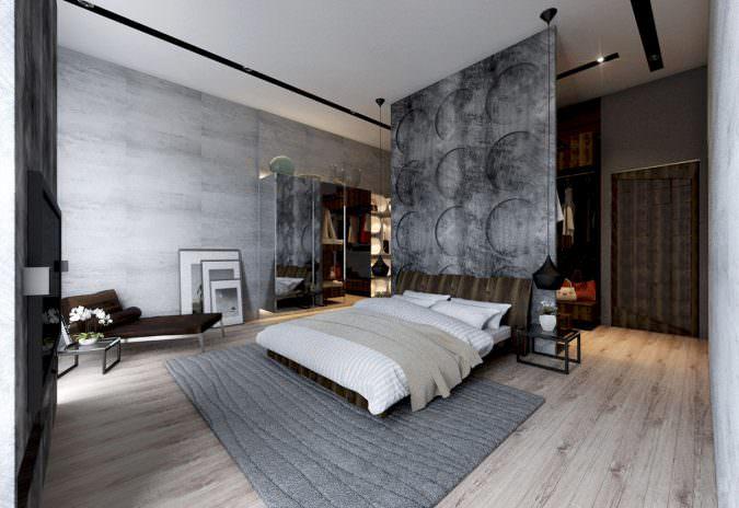 دیوارهای بتنی-دکوراسیون اتاق خواب